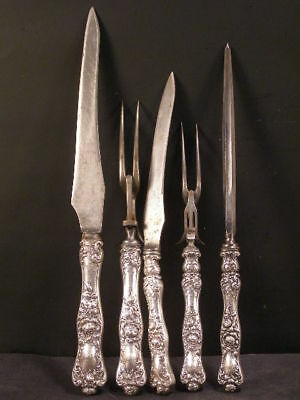 ~Victorian Shiebler Sterling Silver Carving Set 5 PC American Beauty Knife Fork~