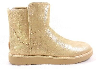 cfe01e657 UGG Abree Mini Stardust Gold Metallic Suede Bootie Size 9 Side Zip NIB