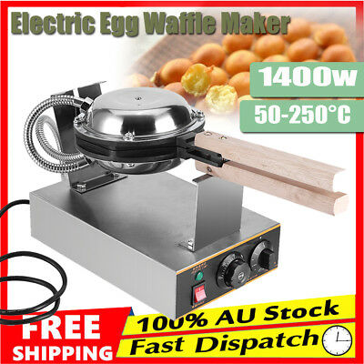 Commercial Electric Bread Waffle Maker Egg Cake Oven Baker Iron Machine AU Ship