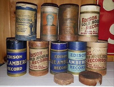 9 Antique Early Edison Amberol amd Columbia Cylinder Records Lot