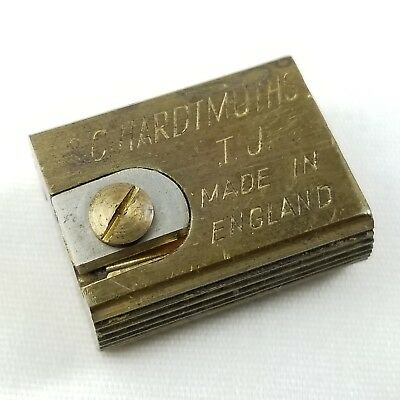 """Antique L&C Hardtmuth TJ Brass 1"""" Double Pencil Lead Point Sharpener Tuitor Old"""