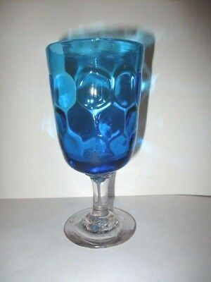 Antique Hand Made Blown Blue Glass Goblet Inverted Coin Dot Donut Ring Stem