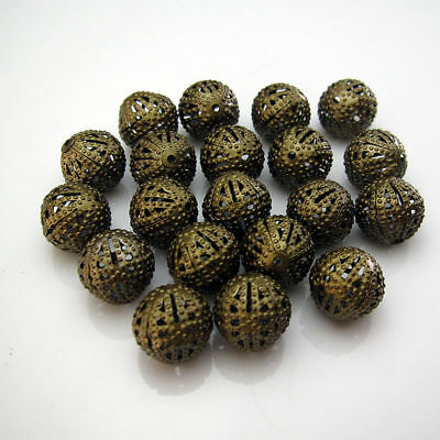 8mm Spacer Findings bronze plating Loose Ball 50pcs Flower Beads Hollow Alloy
