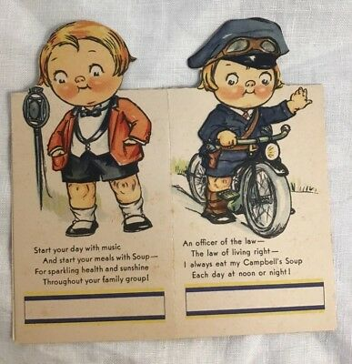 Pair of Campbell Soup Bridge Tally Boy Policeman on bicycle Announcer