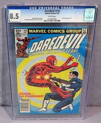 DAREDEVIL #183 (Punisher appearance) White Pgs CGC 8.5 VG+  Marvel Comics 1982