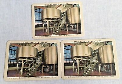 3 New Belgium Brewing Co Advertising Postcard Coasters Fort Collins Co