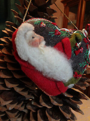 SOFT SCULPTED WOOL SANTA HEART PILLOW ORNAMENT ~ OOAK by Renate'