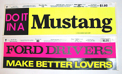 Two 1970s Ford Bumper Stickers Mustang Lovers Vintage Do It Original Unused
