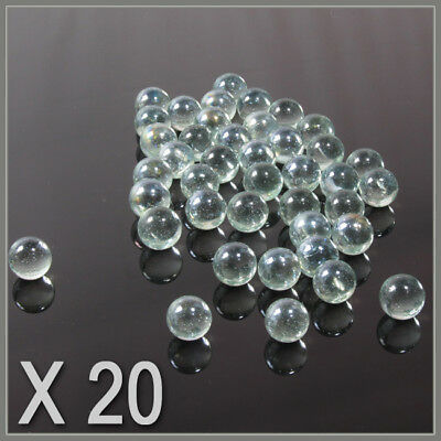 20 CLEAR  SMALL ,PLAYING MARBLES , natural glass colour , glass marbles