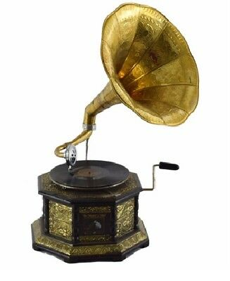 Brand new working Original Gramophone with Brass Horn fathers day antique home