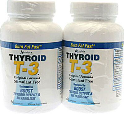ABSOLUTE NUTRITION THYROID T-3 Stim Free, 180 caps BOOST