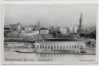 Cleveland,Ohio-Indians Baseball Stadium & Sky Line-30s Brunner State Real Photo