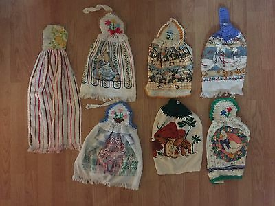 Vintage Lot Of 7 Handcrafted Hanging Kitchen Towels