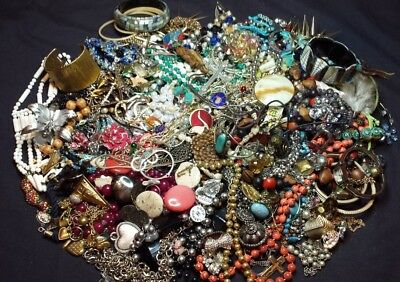 Estate Lot of Mixed Costume Jewelry Earrings Beads Rings Necklaces Some Vintage