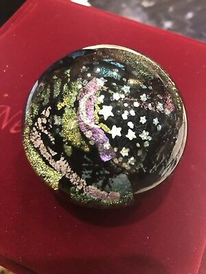 Vintage Art Glass Paperweight Signed Moon & Stars