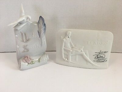 2 LLADRO Collector Society Plaques Signs Don Quixote Art Brings Us Together