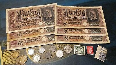 WW2 GERMAN RARE BANKNOTES/COINS w/ SILVER  - 19pc LOT - Vintage WWII Collection!