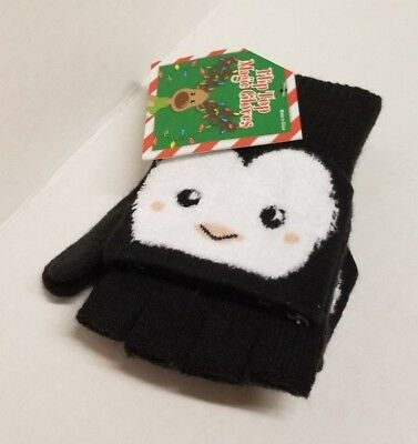 Flip Top Magic Gloves PENGUINS Soft Mittens One Size Kids Womens Black White NEW