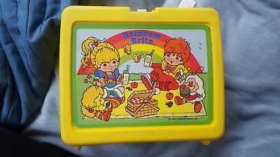 Vintage RAINBOW BRITE YELLOW Plastic Lunch Box  With Thermos Hallmark