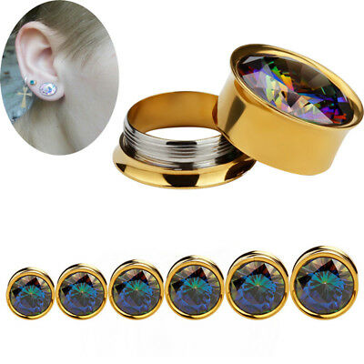 Zircons Crystal Screw Ears Gauges Flesh Tunnels Plugs Stretchers ExpanderEarring