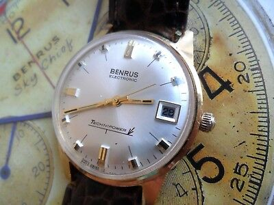 Very Clean Vintage 1970's Men's Benrus Electronic Technicpower Date Watch Runs