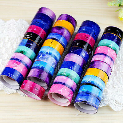 10pcs New 1.5cm DIY paper Sticky Adhesive Sticker Decorative Washi Tape Hot.