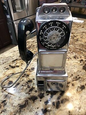 Vintage Automatic Electric Company Rotary Pay Phone Phone Mancave Telephone