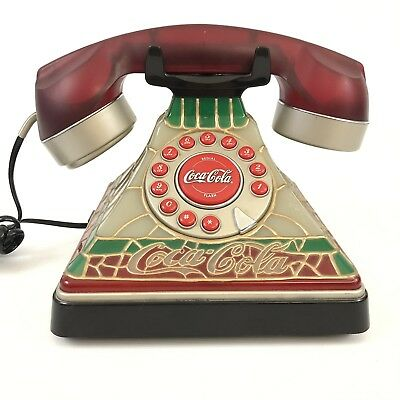Coca-Cola Stained Glass Look Phone with Dial Tone