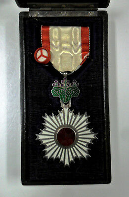 #58. WWII Japanese Order of the Rising Sun, 6th Class, cased.  Nice!