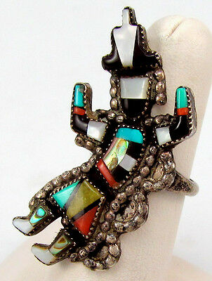 "Zuni ANGELA CELLICION Ring ""Book Piece"" Knifewing Rainbow Man Mosaic Inlay Sz 7"