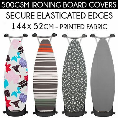 Ironing Iron Board Cover 500GSM Thick Printed Elastic Edges Easy Fitted 144x52cm