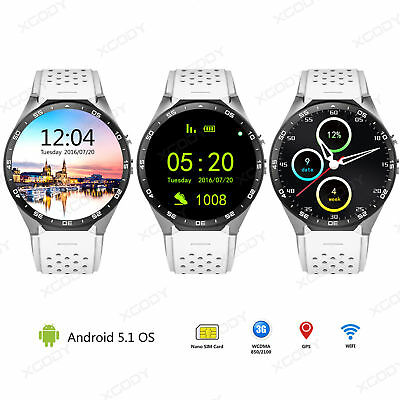 WHITE Smartwatch 4GB Bluetooth 3G Smart Watch WIFI GPS Fitness Android OS