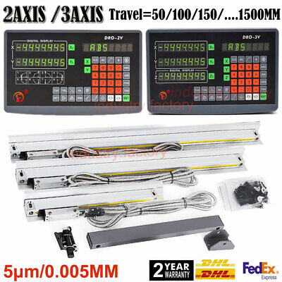 2/3Axis DRO Digital Readout Display TTL Linear Scale 5μm CNC Mill Lathe Machine