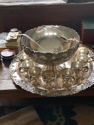 Silver Plated Punch Bowl Set 10 Pieces, EGW&S International Silver Co. Vintage