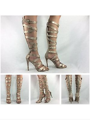 Guess Nwb Chrina Gold Snake Print Strappy Knee High tall Gladiator sandals heels
