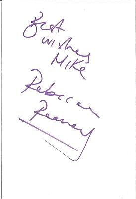 Rebecca Reaney actress signed white card dedicated in person autograph Z3585