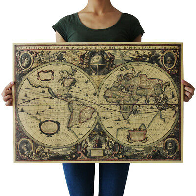 Retro Vintage Globe Old World Reliable Map Cute 71x50cm Matte Brown Paper Poster