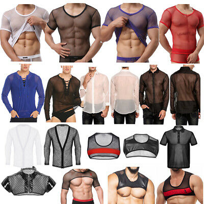 Men Fishnet Mesh See Through T-shirt Leather Muscle Tank Top Gothic Slim Tops