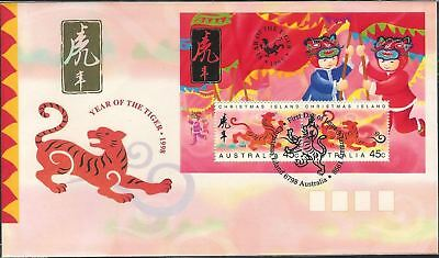 1998 FDC Christmas Island. Year of the Tiger. M.S. Tiger postmark.