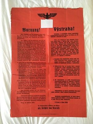 "German AUTHENTIC ""Warnung""  POSTER PROTECTORATE OF BOHEMIA AND MORAVIA"