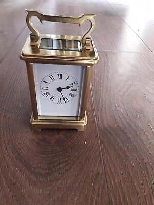 Vintage French brass and 5  - Glass Carriage Clock Working Condition