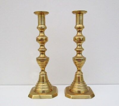 "Large Pair of Antique Brass 19th Century Beehive Candlesticks - Approx 11"" Tall"