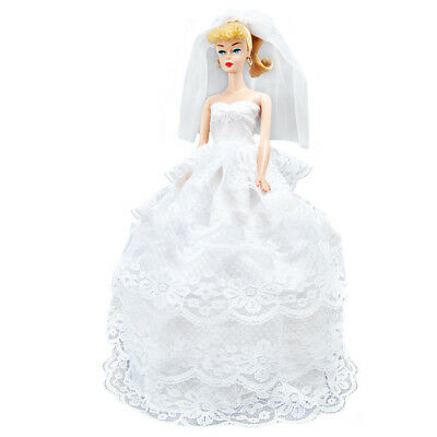 US Handmade Princess Wedding Party Dress Clothes Gown For Nice Dolls