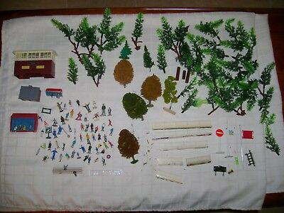 model train accessories ,people trees rails and other bits