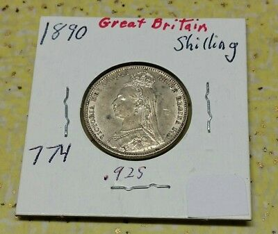 1890 Great Britain UK Sterling Silver Shilling – AU