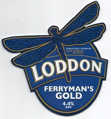 Beer pump clip front. Loddon Brewery, FERRYMAN'S GOLD.