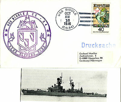 Uss Biddle Cg 34 Cruiser Cached Naval Cover & Magazine Photo