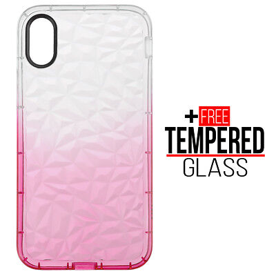 Pour iPhone X XS Diamond Pattern Cas Cover TPU Soft Silicone Gel Shockproof Rose