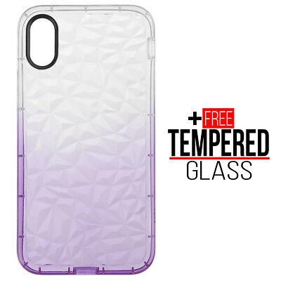 Pour iPhone X XS Diamond Pattern Cas Cover Soft Silicone Gel Shockproof Violet