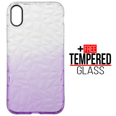 Pour iPhone XR Diamond Pattern Cas Cover TPU Soft Silicone Gel Shockproof Violet